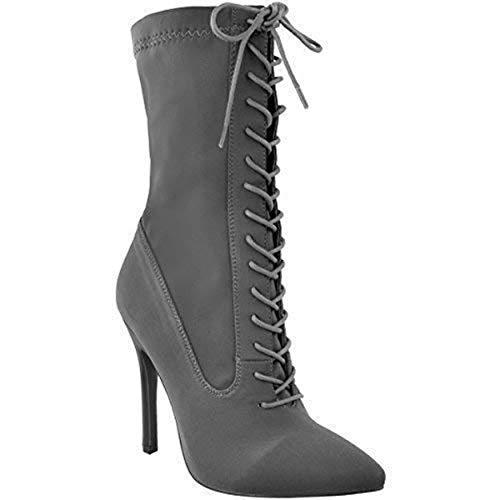 Aiguille Taille Femmes Chaussures Neuf Haut Gris De Bottine Lycra Pour Soirée Lacet Velours Talon P5wYqZ5