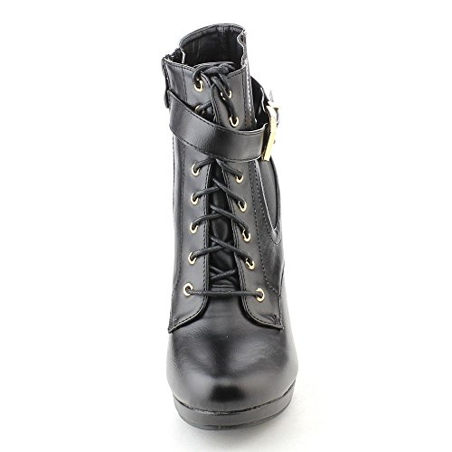 BONNIBEL MATTY-2 Womens Lace Up Buckle Strap Elastic Dress Ankle booties, Color:BLACK, Size:6
