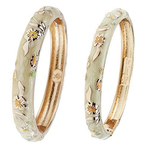 UJOY Designer Cloisonne Bracelets Indian Flower Enameled Jewelry Open Cuff Clasp Hinged Bangle Sets with Gift Box for Women 55B31 Yellow