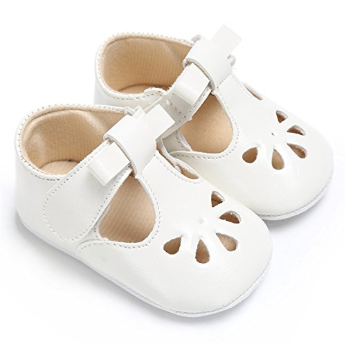 BENHERO Baby Girls Mary Jane Flats with Bowknot Non-Slip Toddler First Walkers Princess Dress Shoes (12-18 Months M US Infant, D-Cream)]()