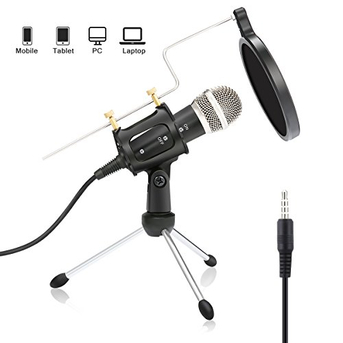 Condenser Microphone NASUM Portable Mini Recording Microphone with 3.5mm Plug &Play Home Studio Microphones for OnlineChat, Voice Recording,Tablets,Laptops,PC,YouTube,Google Voice Search