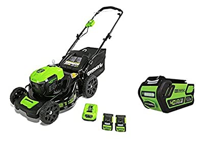 Greenworks 21-Inch 40V Brushless Cordless Mower, Two 2.5 AH Batteries and one 4.0 AH Battery