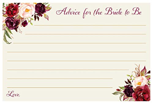 (Advice For The Bride To Be Cards Burgundy Blooms Bridal Shower Wedding Marriage Advice Floral Clusters Maroon Red Purple Nature Garden Watercolor Martial Wisdom Botanical (24 count))