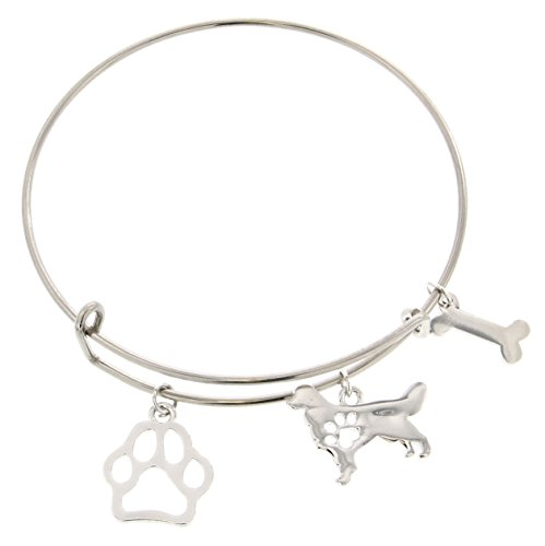Best Golden Retriever Mom Ever Bracelet Gift Love Dog Breed Silhouette Adjustable Bangle Charm Silver-Tone Bracelet Gift for Golden Retriever Owner Jewelry Box (Presents Golden Retriever)