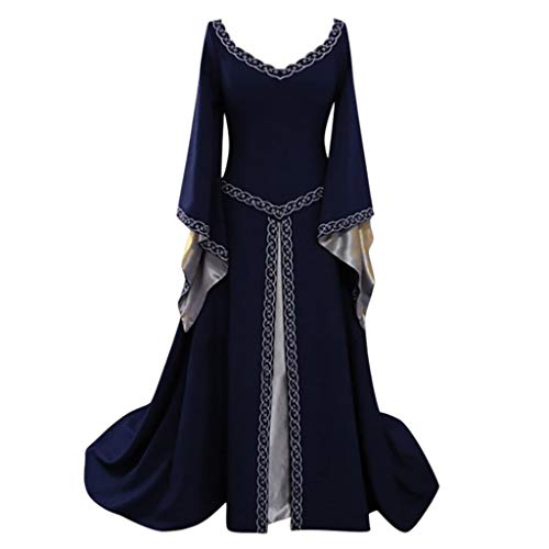 Medieval Dress,Forthery Renaissance Irish Dress for Women Plus Size Long Dresses Lace up Costumes Retro ()