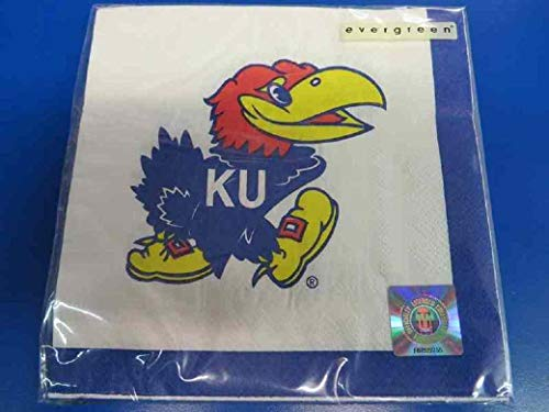 - Kansas Jayhawks NCAA Napkins Football Game Day Sports Themed College University Party Supply NFL Napkins for Beverage for 20 Guests Blue Red Paper Napkins