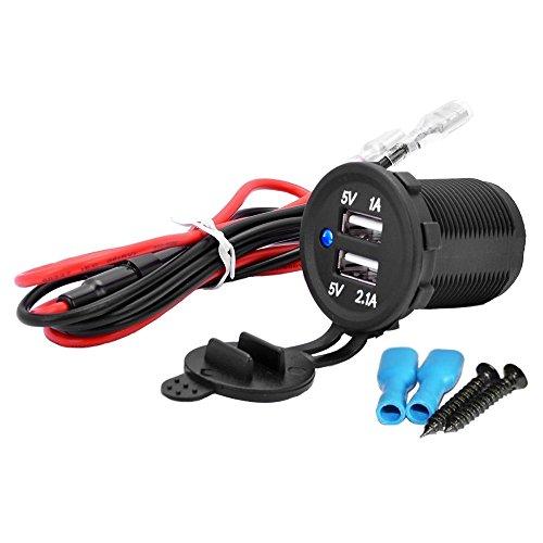 MMOBIEL Universal Waterproof Dual USB Charger Blue LED Indicator Power Outlet Socket 12V-24V Output 5V 2.1A High Speed Charger -