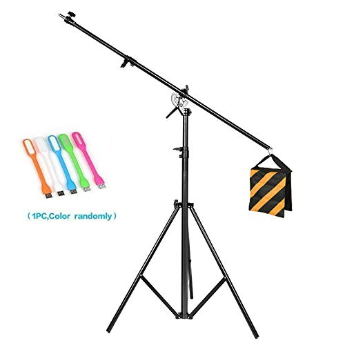 (CONXTRUE Max 13.2ft/400cm Two Way Rotable Aluminum Adjustable Tripod Boom Light Stand with Sandbag for Studio Photography Video +CONXTRUE UBS LED Free Gift )