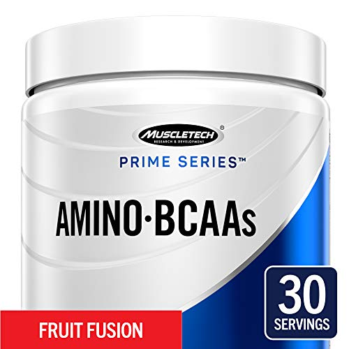 MuscleTech Prime Series BCAA/EAA Amino Energy Powder, 7.2g Amino Acids Formula with Electrolytes, Fruit Fusion, 30 Servings (295g) - Amazon -