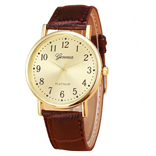 Price comparison product image Redvive Women Ladies Mens Retro Design Leather Band Watch Round Analog Alloy Quartz Wrist Watch.