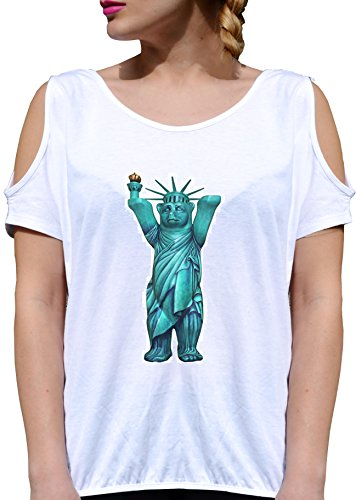 T SHIRT JODE GIRL GGG27 Z0319 STATUE OF LIBERTY TOY OLD MAN FUNNY FASHION COOL BIANCA - WHITE M