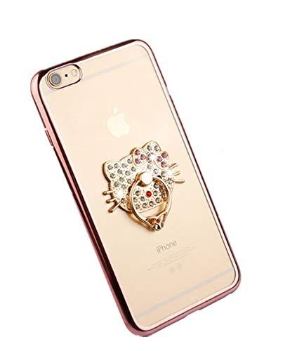 iphoneケース キティちゃん スマホケース リング付き kitty hellokitty iphone7ケース iphone8ケース iphone7plusケース 8plusケース iphoneXケース XSケース iphoneXR iphonexsmax iphone6 6sケース iphone6plus 6splusケースに対応ディズニー キャラクター プレゼント (iphoneXs Max, ピンクゴールド)