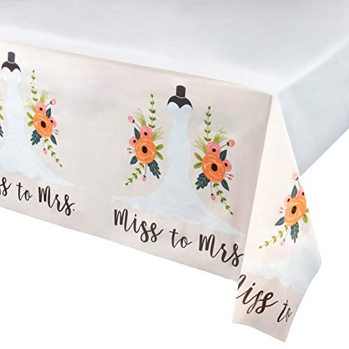 Miss to Mrs Plastic Tablecloth - 6-Pack Bridal Wedding Shower 54 x 108 Inch Table Decoration, Fits Up to 8-Foot Long Tables, Engagement Party Supplies, 4.5 x 9 -