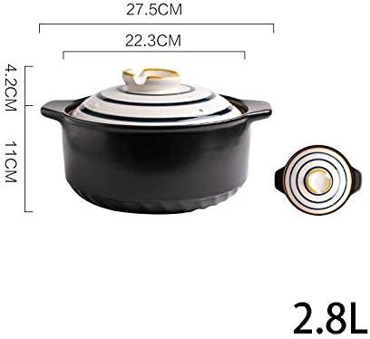 UWY Plats à ragoût avec couvercles Casserole Pot - Casserole Pot à ragoût Pot de Riz Domestique Riz à Haute température Pot à ragoût-2.8L