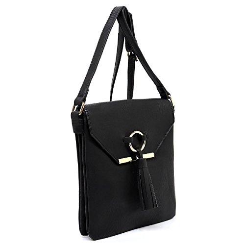 - Three compartments zipper top closure large crossbody bag with flap and tassels detail (black)