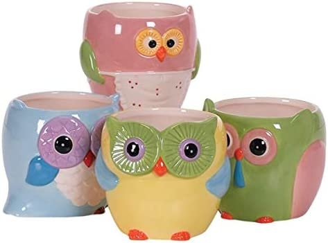 Decorative Owl Ceramic Vases for Home Office Decoration 4 x3.25 l Bright Color Pottery Owl l Office Decoration l Gift for Family and Friends l Gift for Her l Assorted Colors- Set of 4