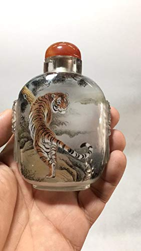 Lynnmed Decoration Collection Handicraft Snuff Bottle - Inside Painted (Double-Deck) with Tiger -Business Gift Meeting Gifts Birthday Gifts Culture Gift Gift Package Collection Powder Bottle