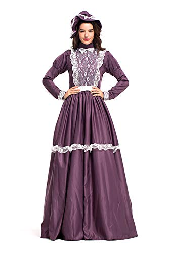 (Womens Colonial Dress Pioneer Lady Pilgrim Costume Set Purple)