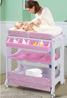 Great Baby Bath Table, Changing, Diaper Station   With Storage, Wheels, Pink