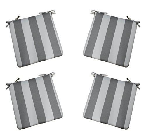 """Set of 4 - Indoor / Outdoor Gray / Grey and White Stripe 17"""" X 17"""" Square Universal 3"""" Thick Foam Seat Cushions with Ties for Dining Patio Chairs"""