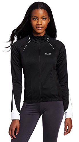 Windstopper Black Jacket (GORE BIKE WEAR Lady's Phantom Windstopper Soft Shell Jacket, JWPHAW, black/white, M)