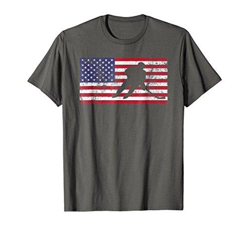 USA American Flag Hockey Cool Ice Skating T-Shirt Gift