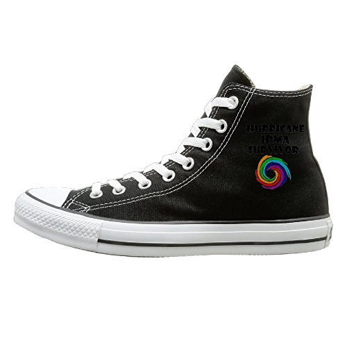 Shenigon Cool Hurricane Irma Survivor Art Canvas Shoes High Top Casual Black Sneakers Unisex Style 44 (Best Spin Mop In India)