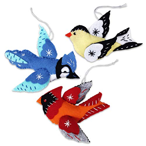 (Heidi Boyd | Cardinal, Blue Jay and Goldfinch Ornaments | Brighten Up Your Christmas Tree with These Handmade Holiday Ornaments | All Inclusive Felt Craft Sewing Kit Age 13+)