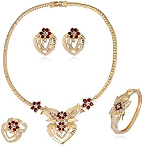 Simple alloy heart-shaped rhinestone plated necklace four-piece set