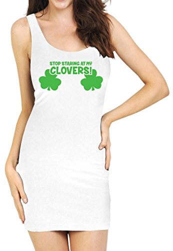 TeeStars - Stop Staring At My Clovers Funny Sexy St. Patrick's Tunic Medium White
