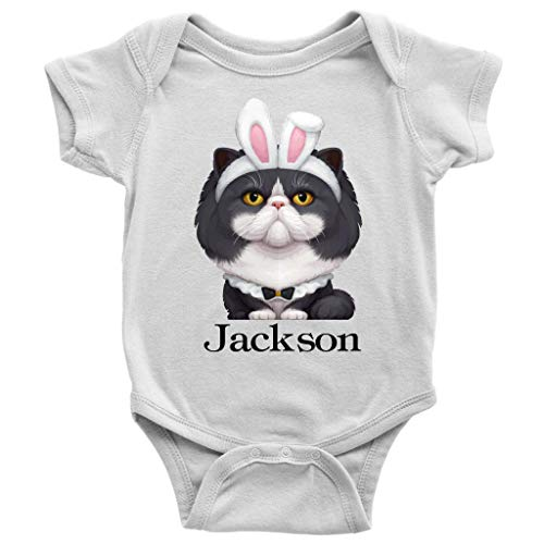 Onesie - Custom Personalized Baby Name Baby Bodysuit, Cute Persian Cat Easter Bunny Newborn Outfit | Persian Cat Loves (24 Months) White (Best Persian Boy Names)