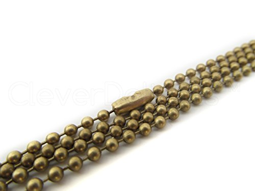 20 CleverDelights Ball Chain Necklaces - Antique Bronze Color - 24 Inch - Jewelry Findings - 2.4mm Ball - Adjustable Antiqued Necklaces - 24