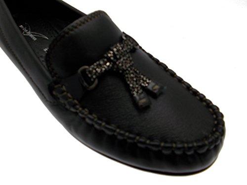Noir Femme Classique Borne Cuir Chaussure Wedge En Mocassin wAUFRxqI