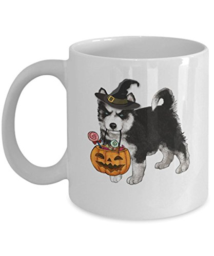Kiwi Styles Husky Coffee Mug - Halloween Pumpkin Witch Ceramic Mugs Cup - Happy Halloween Husky   Best Halloween, Birthday Gift For Dog Lover, Dog Aunt, Grandpa, Dog Grandma - 11 Oz, White