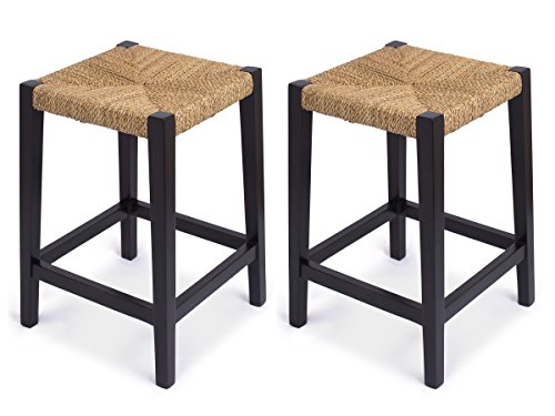 BirdRock Home Rush Weave Backless Counter Stool Set of 2 24 Inch Counter Height Traditionally Woven Kitchen Dining Room Counter Stool Chair Wooden Furniture Fully Assembled Black Finish