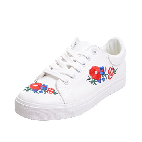 White embroidered Up Dear Shoes Lace Sneakers Time White Women wH7ZUv