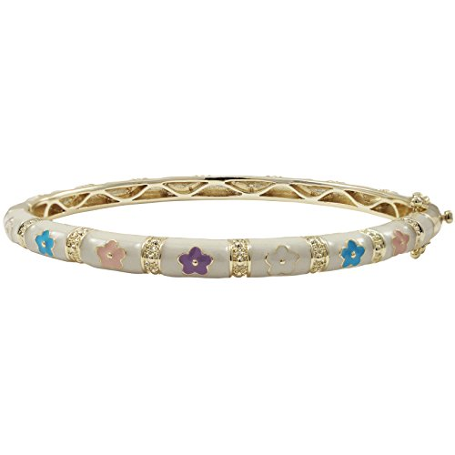 Ivy and Max Gold Finish White Enamel Multi-Color Flowers Girls Bangle Bracelet (57 mm - Age 13 Years and up) - Multi Color Flower Bracelet