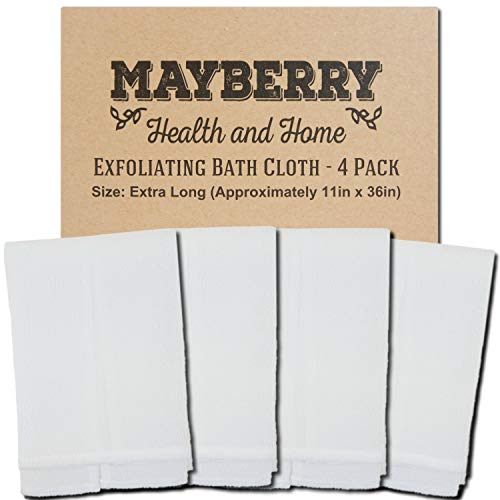 Extra Long (36 Inches) Exfoliating Bath Cloth/Towel (4 Pack) Nylon Bath Cloth/Towel, Stitching on All Sides for Added Durability (White)