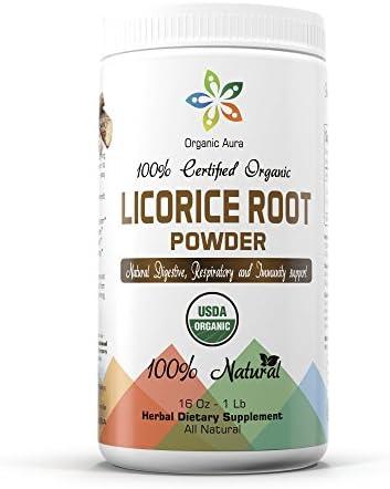 Organic Aura Licorice Root Powder 16oz – 1 lb. 100 Natural, No GMO. Gluten Free.