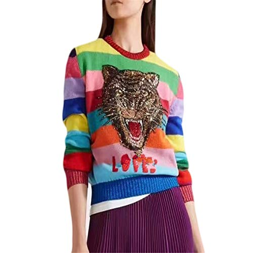 Luxury Sweaters Women Soft Rabbit Fur Pullovers Cartoon Tiger Embroidery Letters Knitted Sweaters Rainbow Striped Sweaters One Size