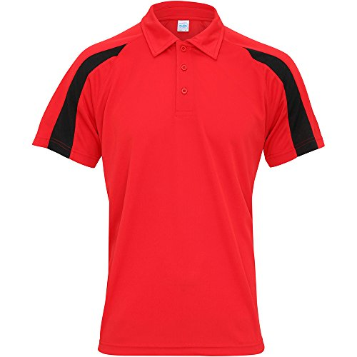 Awdis Cool Mens Contrast Cool Polo Shirt Fire Red/ Jet Black