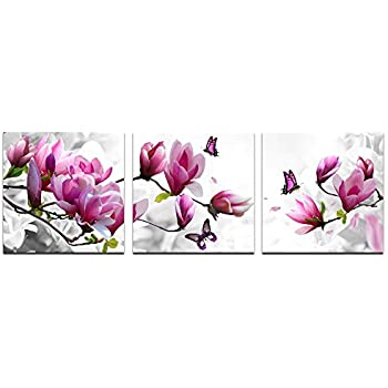 Cao Gen Decor Art Pink Flower 3 Panels Stretched Canvas Framed Wall Art