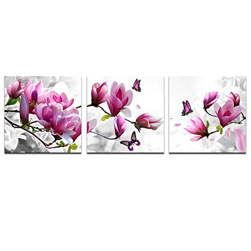 Cao Gen Decor Art-AH40255 Pink Flower 3 Panels Print Canvas Framed Wall Art