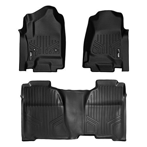 SMARTLINER Floor Mats 2 Row Liner Set Black for Crew Cab 2014-2018 Silverado/Sierra 1500 - 2015-2019 2500/3500 ()