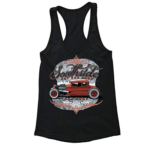 - XtraFly Apparel Women's South Side Hot Rod Car Truck Garage Racer-Back Tank-Top Black