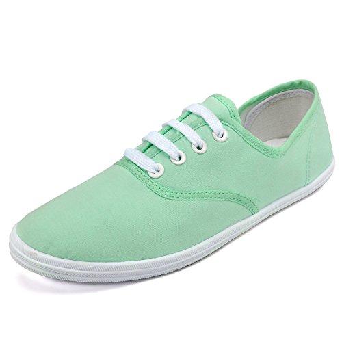 Odema Mujeres Las Zapatillas de Deporte Zapatos de Lona Atan para Arriba Tenis Básicos de Atléticos de 8 Colores Disponibles Verde Claro