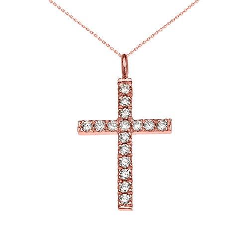Collier Femme Pendentif Élégant 10 Ct Or Rose Oxyde De Zirconium Croix (Livré avec une 45cm Chaîne)