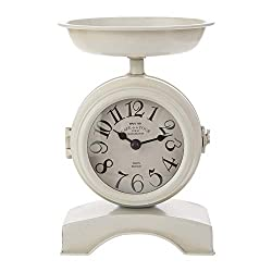 Old Fashioned Kitchen Scale Classic White 9 x 6 Iron Metal Shelf Clock