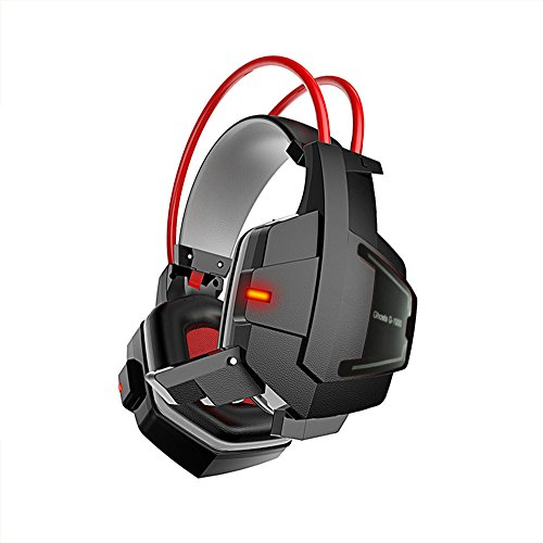 TOPQSC Led Stereo Gaming Headset Deep Bass Game Headphone Stereo Surrounded Over-Ear Gaming Headset Headband Earphone With Micphone For Computer PC Gamer-Black