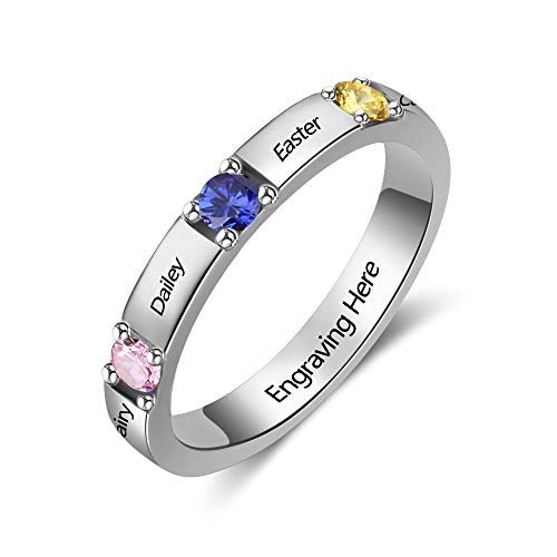 Personalized Stackable Name Ring DIY 3 Simulated Birthstone Mother Ring Engraved Family Jewelry Gifts (7)